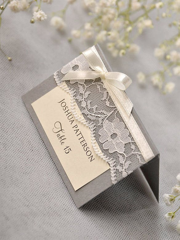 grey lace place name card template for 40