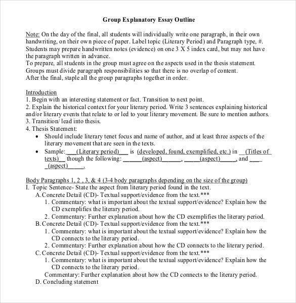 Exploratory essay outline