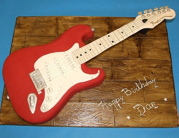 14 awsome guitar cake templates designs free for Guitar templates for cakes