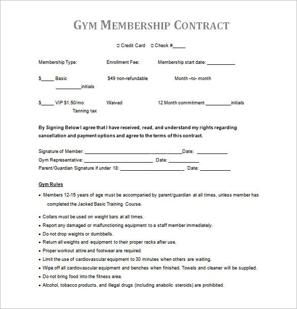 Fitness Center Gym Membership Contract Template Word Format