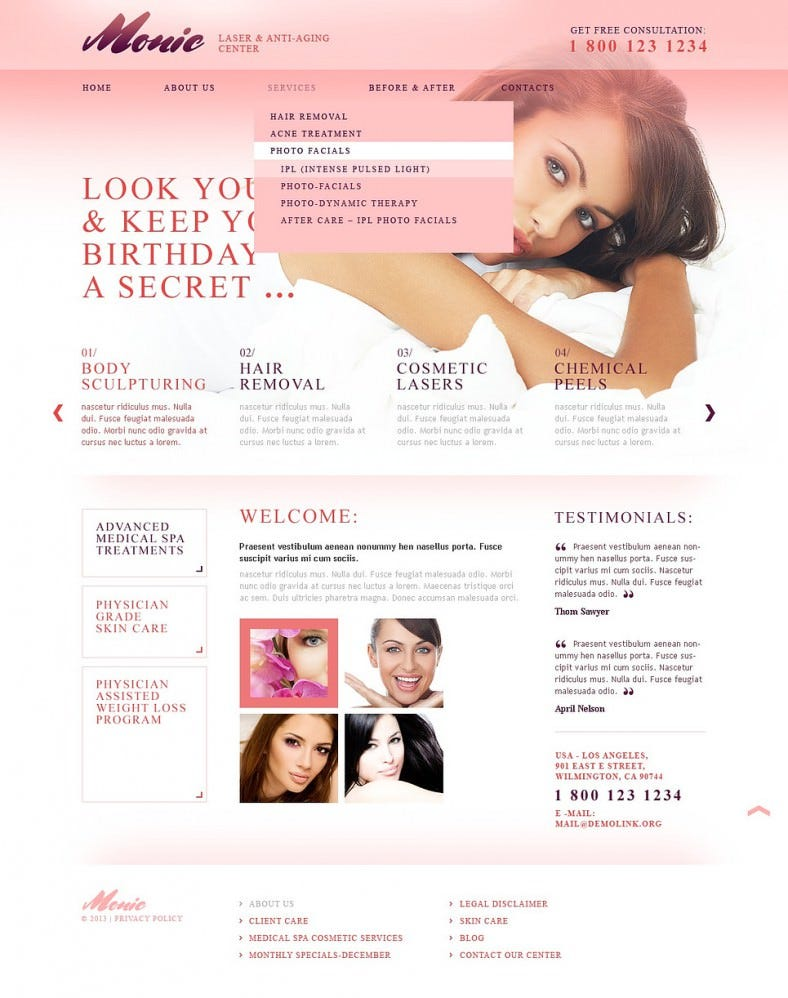 HTML5 & JS Responsive Website Template for Plastic Surgery