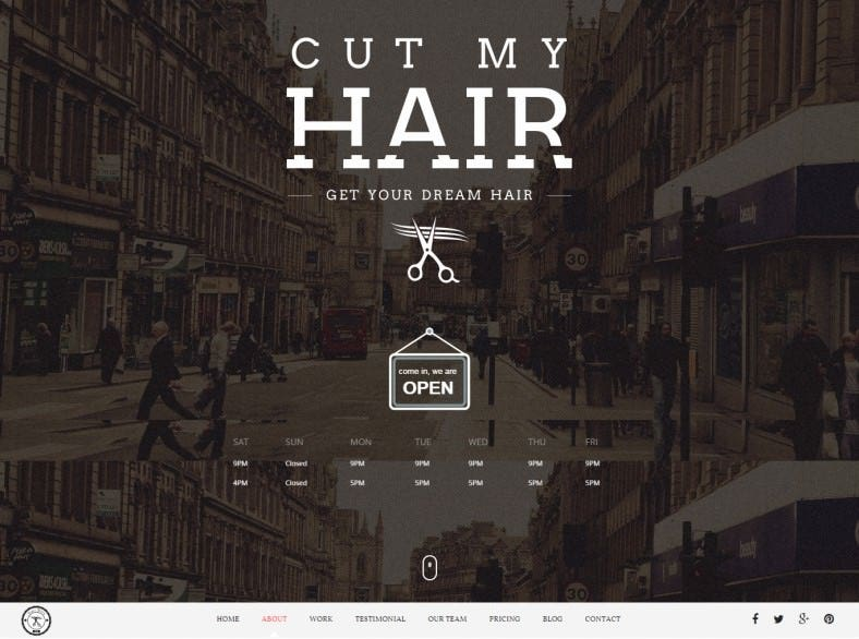 HTML5 Template for Hair Salon and Beauty