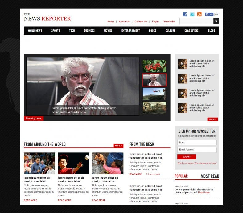 HTML5 and CSS3 New Reporter Magazine Web Template