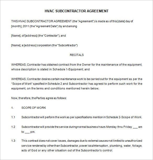 hvac maintenance contract template word download. Resume Example. Resume CV Cover Letter