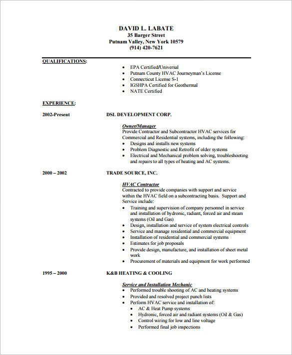 hvac mechanic resume templates pdf format - Hvac Resume Template