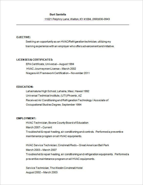hvac service technician resume free download - Hvac Resume Examples
