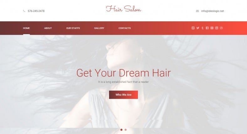 Hair Salon Responsive One Page HTML5 Theme