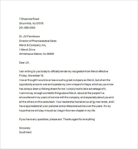 handing in notice letter template