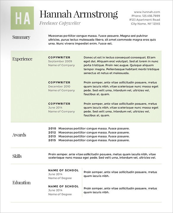 hannah armstrong green resume template