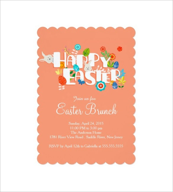 happy easter brunch dinner party invitation template