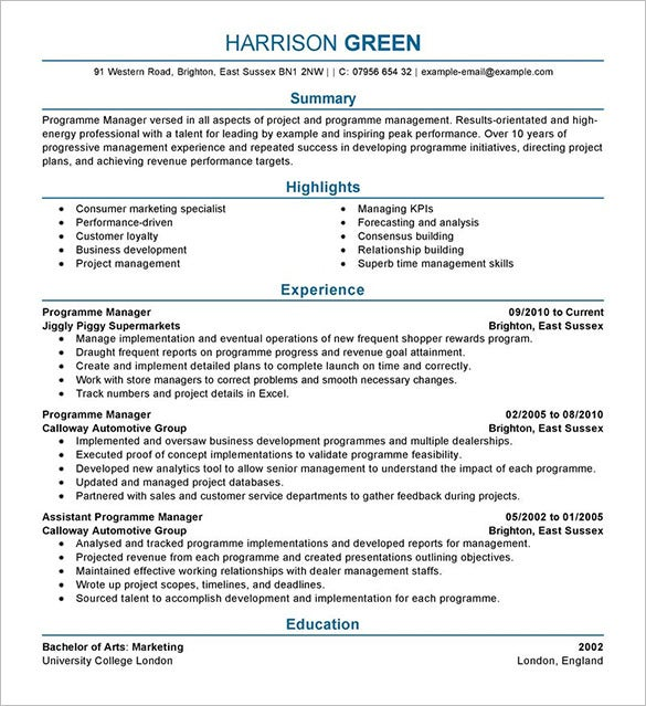 harrison green manager resume template