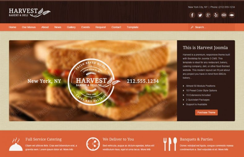 harvest restaurant food joomla theme 788x508