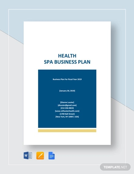 health spa business plan template