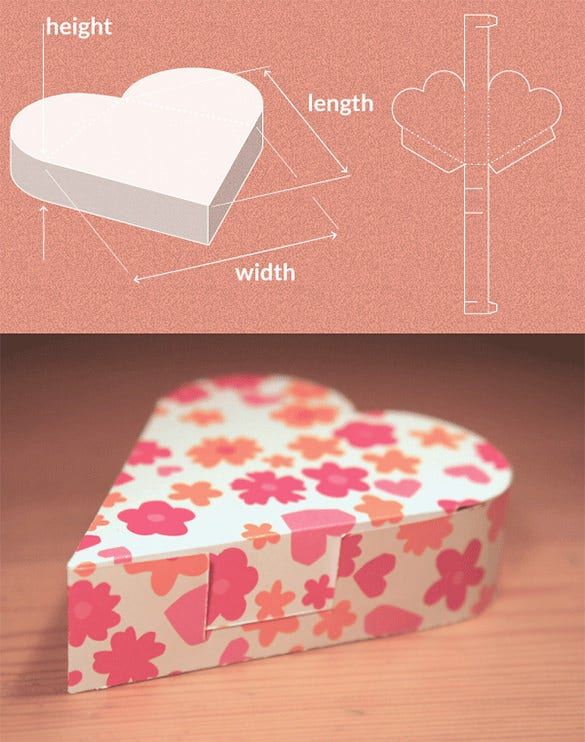 heart paper box template creator free download