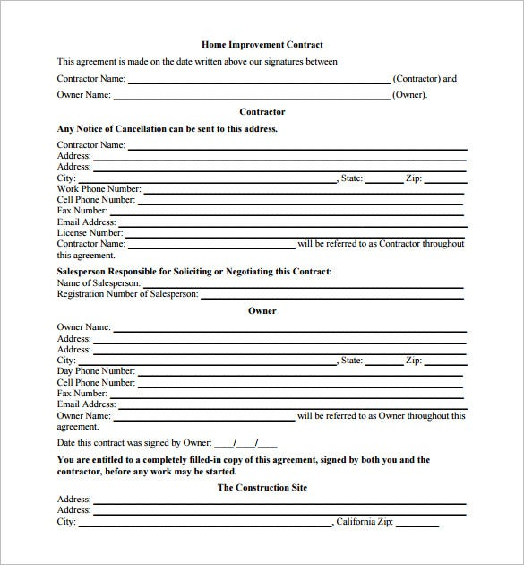 Genial Home Improvement Contract Template Sample Free