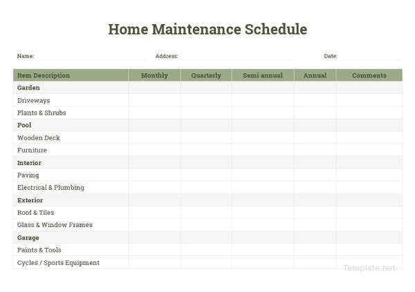 Maintenance Schedule Templates - 35+ Free Word, Excel, PDF ...