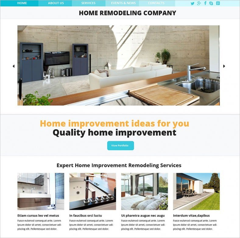 Stylish Responsive Home Remodeling Website Template U2013 $75
