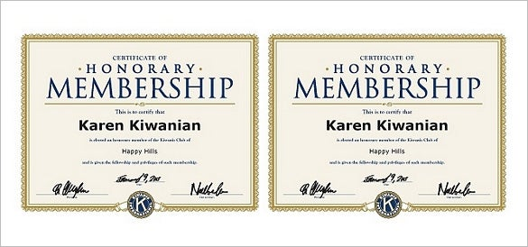 honorary member certificate template
