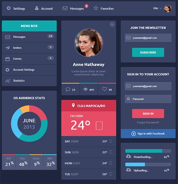 horizontal css3 ui kit free download