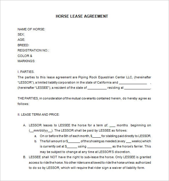 horse lease contract template word free download