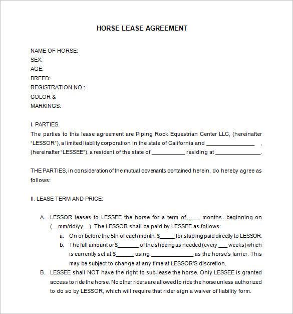 horse lease agreements - solarfm.tk