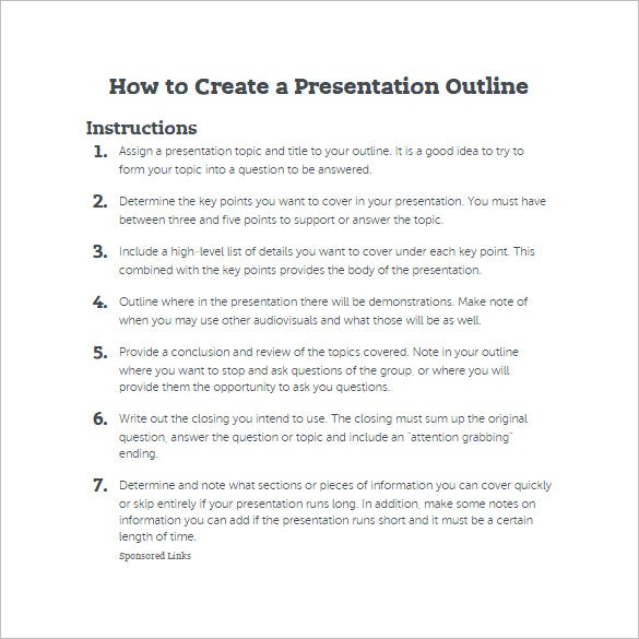 7 presentation outline templates � free ppt word amp pdf