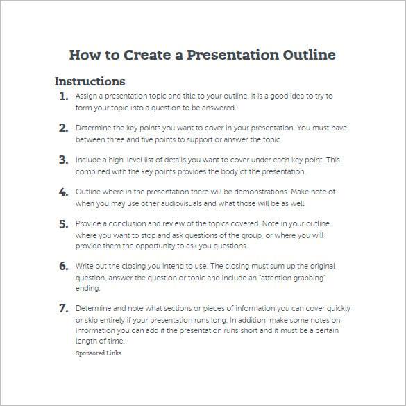 outline format for presentation