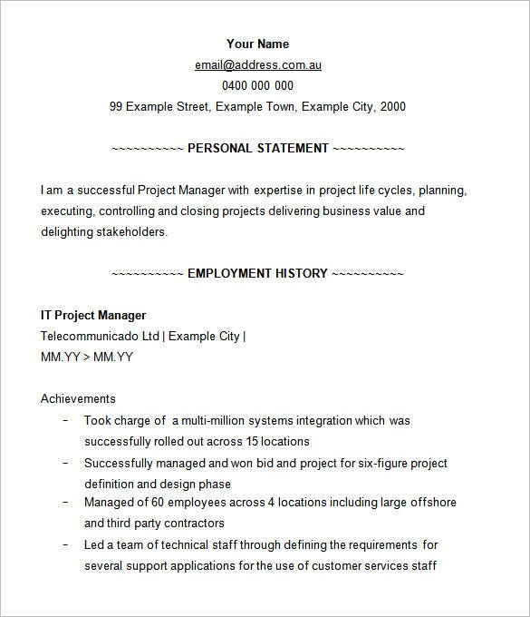 Project Manager Resume Template   Free Samples Examples