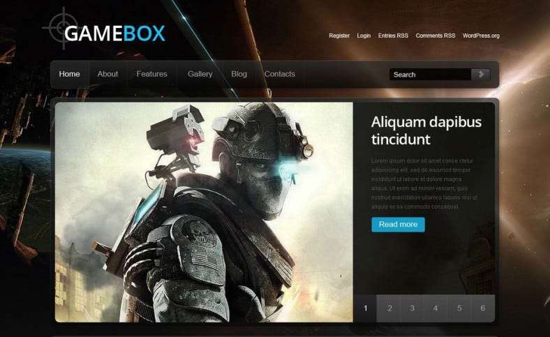 Image Background Wp Theme for Game Portal