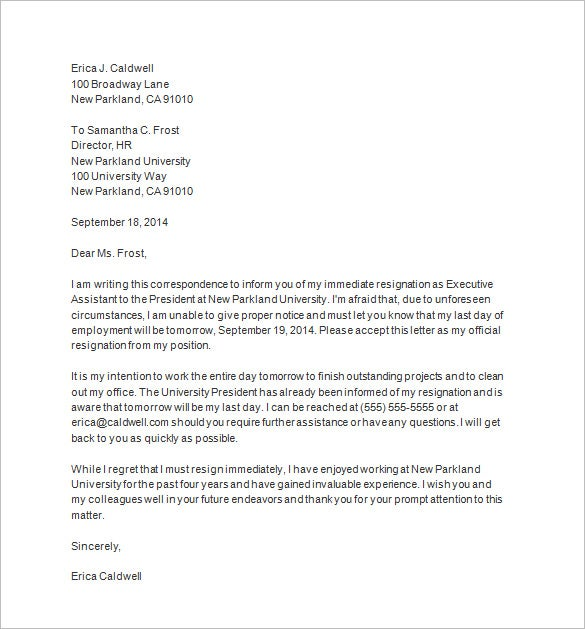 immediate resignation letter sample template