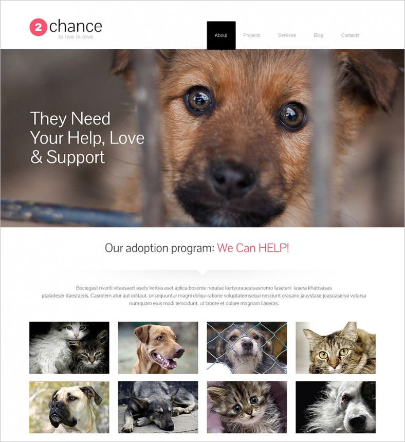 impressive animal shelter wordpress theme 788x860