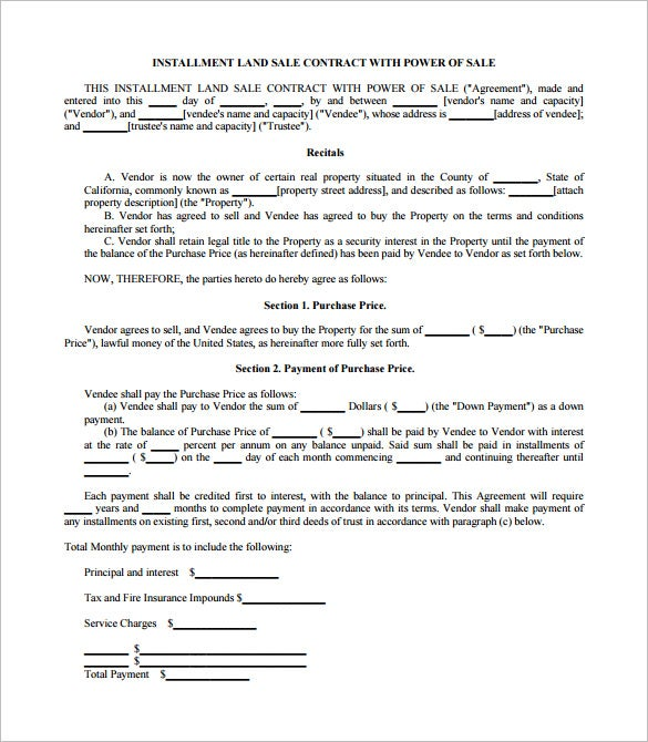 installment land sale contract template in pdf format