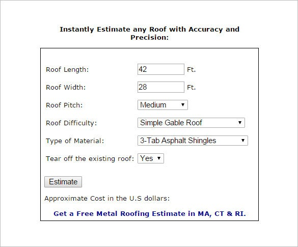 photograph about Free Roofing Estimate Forms Printable called 12+ Roofing Calculate Templates - PDF, Docs, Term No cost
