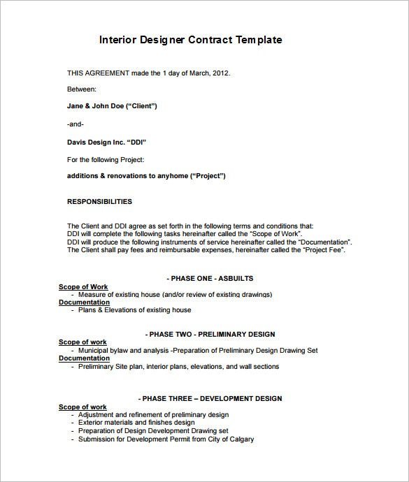 7 interior designer contract templates word pages pdf - Interior design contract template ...