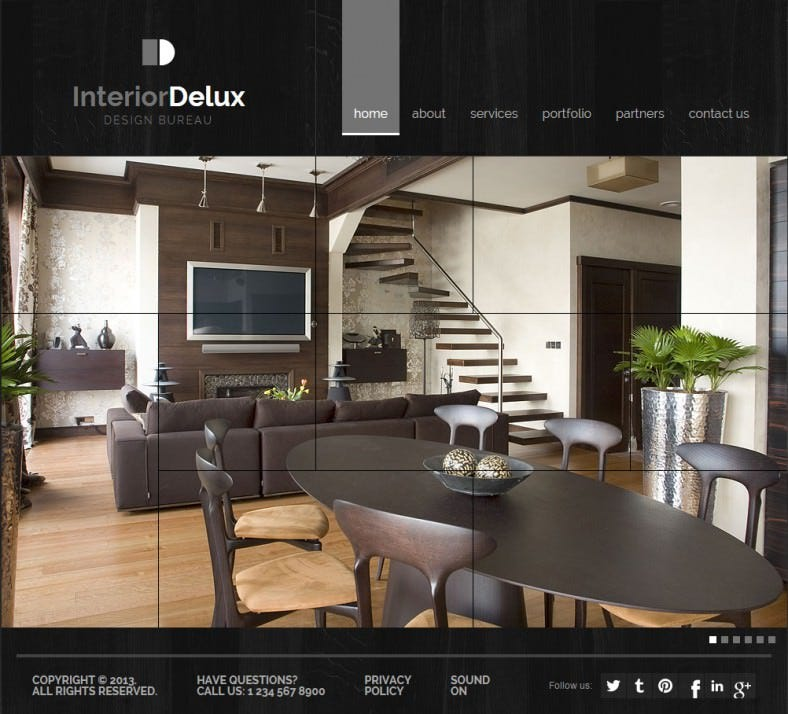 Dark Background Interior Design HTML5 Website Template U2013 $35