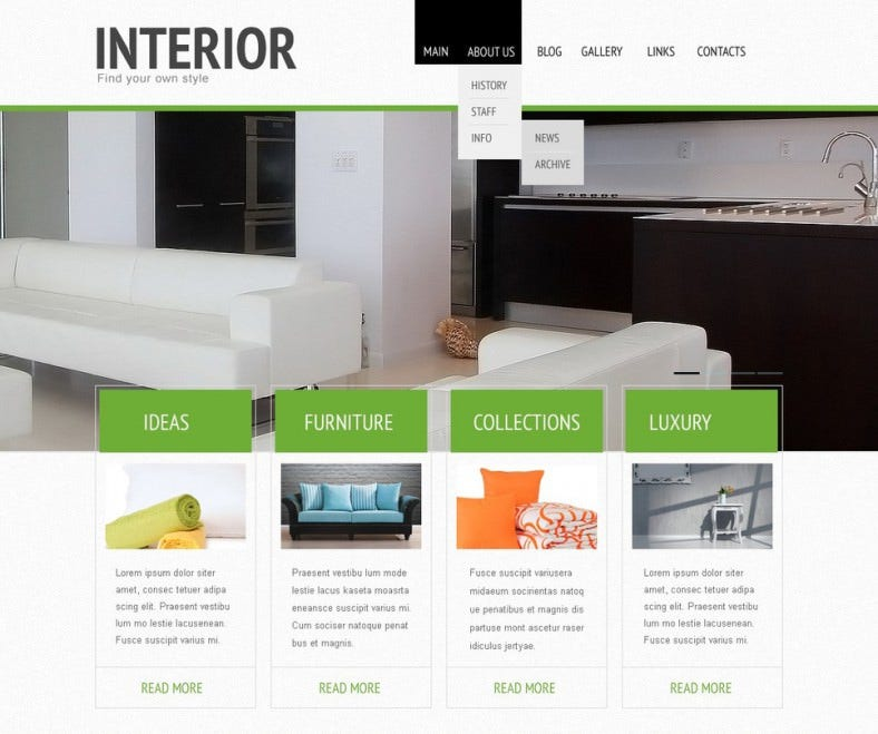 interior design joomla template 788x659