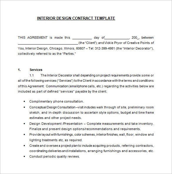 7 interior designer contract templates word pages pdf - Interior design letter of agreement ...
