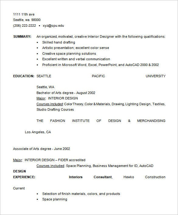 costume design resume template