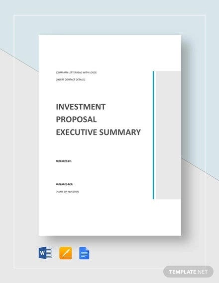 investment proposal executive summary