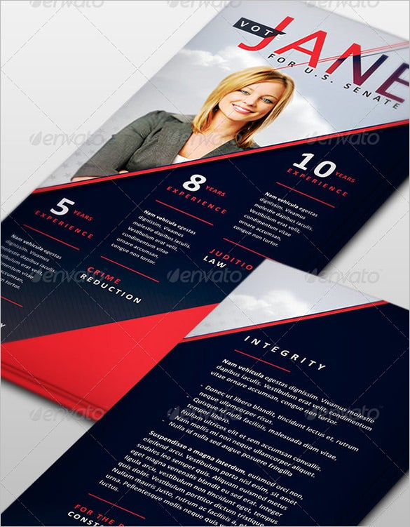 jane political palm card psd template