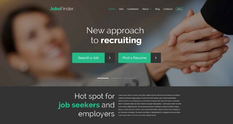 job portal responsive wordpress theme 788x418