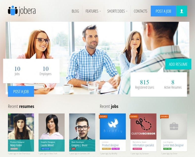 jobera job portal wordpress theme 788x633