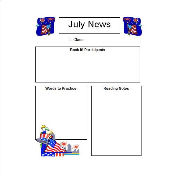 July Kindergarten Classroom Blank Newsletter Template  Free School Newsletter Templates For Word
