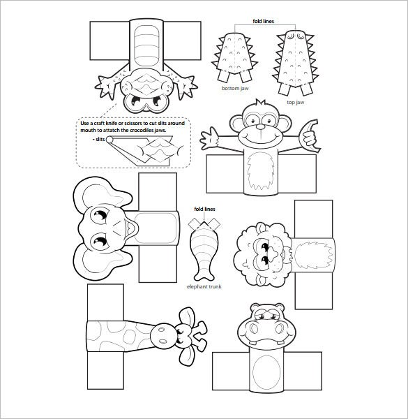 jungle animals finger puppet template pdf format