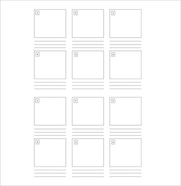 kids blank storyboard template 6 boxes
