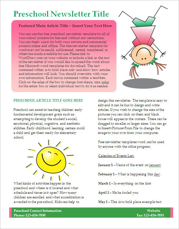 kids preschool newsletter template word format