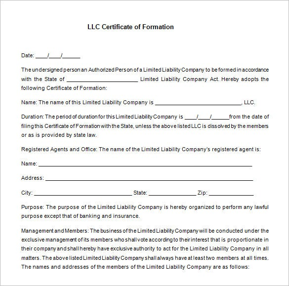 llc membership certificate template free download