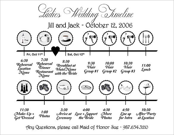Wedding timeline template 35 free word excel pdf psd vector ladies wedding timeline template free download junglespirit Images