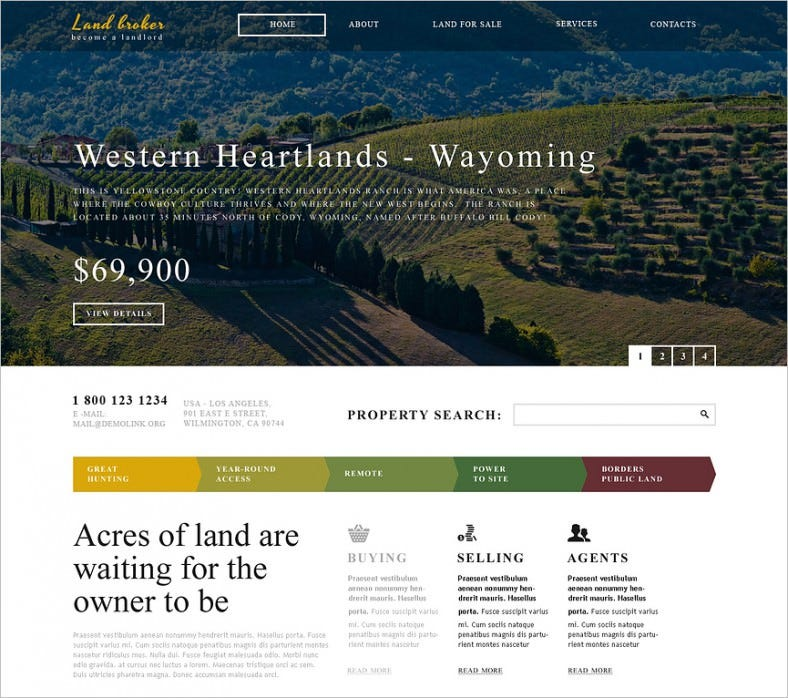 land broker responsive website template 788x698