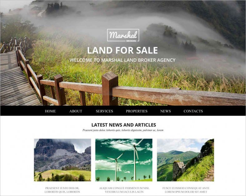 land brokers website template 788x627
